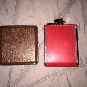 Vintage flask & cigg case